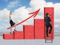 Лестницы как огромная красная диаграмма в виде вертикальных полос на крыше Женщина идет до лестницы, пока человек открывал сокращ Стоковое Изображение