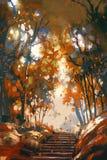 Лестницы с деревьями в парке бесплатная иллюстрация