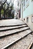 Лестницы улицы мостоваой булыжника в Лиссабоне Стоковые Фотографии RF