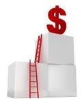 Лестницы для достижения символа доллара Стоковое фото RF