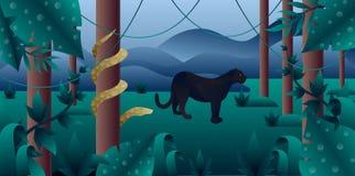 Лес Амазонии с пантерой и питоном иллюстрация штока
