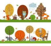 Лес вектора установил с деревьями осени, милыми животными и птицами Стоковая Фотография RF