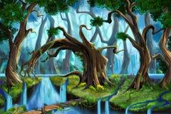 Лес воды иллюстрация штока