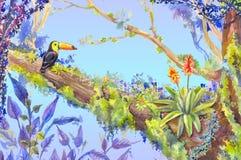 Лес джунглей с toucan усаживанием на дереве, illust акварели Стоковое Изображение RF