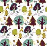 Лес зимы и животная безшовная картина Стоковая Фотография RF