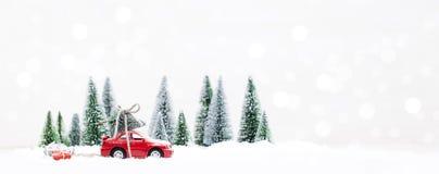 Лес зимы Snowy при миниатюрный красный автомобиль нося рождество Стоковое фото RF