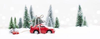 Лес зимы Snowy при миниатюрный красный автомобиль нося рождество Стоковая Фотография