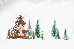 Лес зимы Snowy с рождественской елкой пряника Стоковое фото RF