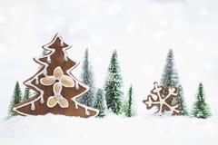 Лес зимы Snowy с рождественской елкой пряника Стоковые Изображения RF