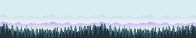 Лес и горы, панорама ландшафта природы вода вектора свежей иллюстрации конструкции естественная ваша Стоковое Фото