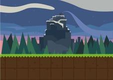 Лес и крепость иллюстрация вектора