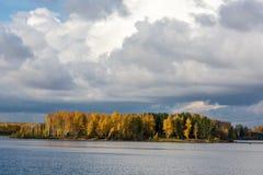 Лес осени на банках реки Стоковые Изображения
