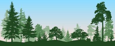 Лес, парк, переулок Ландшафт изолированных деревьев, силуэт бесплатная иллюстрация