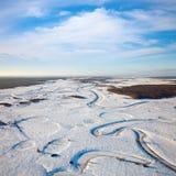 Лес простого и малого реки в зиме стоковое фото