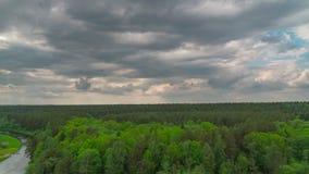Лес, река и дождевые облака, панорамный промежуток времени видеоматериал
