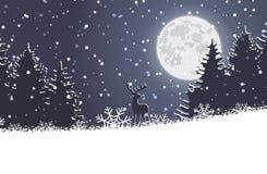 Лес рождества зимы с оленями стоковое изображение rf