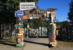 Лес столба знака, озеро Уотсон, Юкон, Канада Стоковые Фото