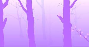 Лес утра туманный иллюстрация вектора