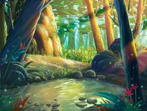 Лес Moring фантазии берегом реки с фантастическим, реалистическим и футуристическим стилем иллюстрация вектора