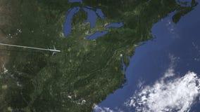 Летание авиалайнера к Балтимор, Соединенным Штатам от западной 3D анимации видеоматериал