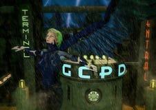 Летание ангела кибер фантазии в городе goth Стоковая Фотография