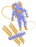Летание астронавта в открытом пространстве соединенном с космической станцией, космонавтом в костюме пилота плавая в невесомость  иллюстрация вектора