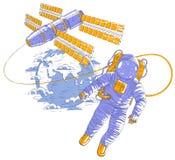 Летание астронавта в открытом пространстве соединенном с планетой космической станции и земли в предпосылке, космонавте в костюме бесплатная иллюстрация