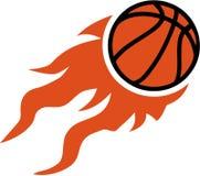 Летание баскетбола на огне иллюстрация штока