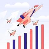 Летание бизнесмена как супергерой с портфелем иллюстрация вектора
