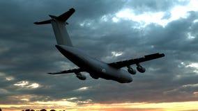 Летание бомбардировщика на предпосылке неба 3d представляют стоковое изображение rf