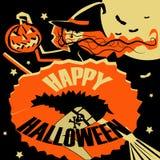 Летание ведьмы на венике с тыкв-фонариком в руке приветствие halloween карточки стоковые фотографии rf
