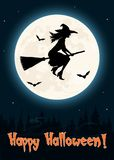 Летание ведьмы на поздравительной открытке хеллоуина веника иллюстрация штока