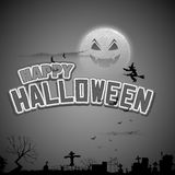Летание ведьмы в счастливой предпосылке хеллоуина Стоковое фото RF