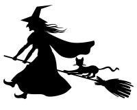 Летание ведьмы и кота на венике иллюстрация вектора