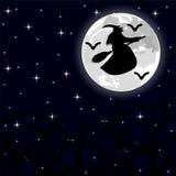 Летание ведьмы на венике на полнолунии в лесе Стоковая Фотография RF