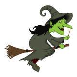 Летание ведьмы на шарже веника Стоковые Фото