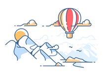 Летание воздушного шара в небе над горами иллюстрация штока