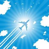 Летание воздушных судн пассажира в небе Стоковое фото RF