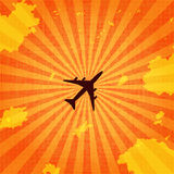 Летание воздушных судн пассажира в небе Стоковое Изображение RF