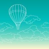 Летание воздушного шара в векторе облаков иллюстрация штока