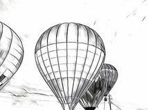 Летание воздушного шара в небе Monochrome воздушные шары плавают выставка в поле сельской местности Стоковое Изображение