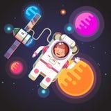 Летание девушки астронавта в космосе иллюстрация штока