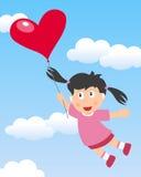 Летание девушки с воздушным шаром сердца бесплатная иллюстрация