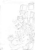Летание девушки с книгами, эскизами и карандашем делает эскиз к и doodles бесплатная иллюстрация