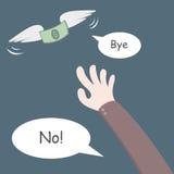 Летание денег далеко от руки Стоковое Изображение