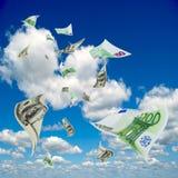 Летание денег из неба. иллюстрация вектора