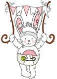 Летание зайчика младенца держа розовое знамя флага бесплатная иллюстрация