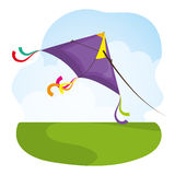 Летание змея в cloudscapes иллюстрация вектора