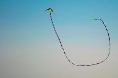 Летание змея длинного хвоста в голубом небе Стоковое фото RF