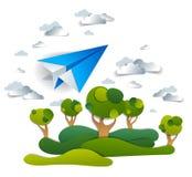 Летание игрушки бумаги Origami плоское в небе над лугами и деревьями, идеальной иллюстрацией вектора сценарного ландшафта природы бесплатная иллюстрация